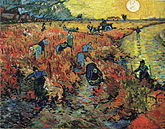A vineyard with many people working picking fruit, while a very large and bright sun shines in the sky.