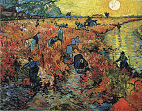 laborers toil in the field, with all but one on foot and the other manning a beast drawn cart; a river curves in and out of the scene from the upper right with one person in it and the sun is prominently displayed among yellow lighting; the foreground fields are multicolored and the background fields are yellowish.