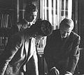 Regina-mamă Elena și Regele Mihai I vizitează Institutul de antropologie în toamna anului 1940.jpg