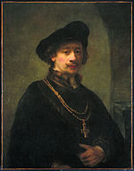 Rembrandt - Self-portrait with beret, gold chain, and cross.jpg