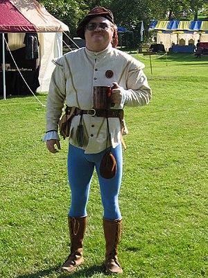 A man's Renaissance-era costume with tights. I...