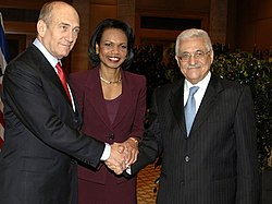 Ehud Olmert meets with Condoleezza Rice and Mahmoud Abbas
