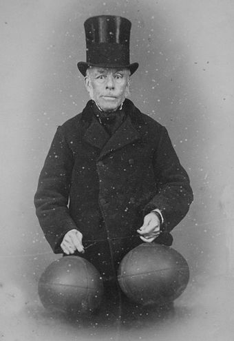 Richard Lindon (seen in 1880) is believed to have invented the first footballs with rubber bladders. Richard Lindon (1816-1887).jpg