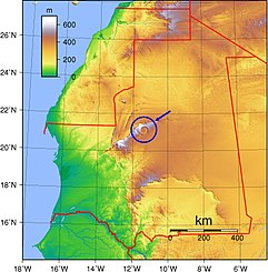 Richat Structure in Mauritania Topographic map.jpg