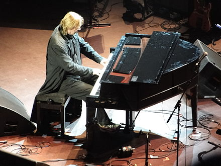 Wakeman performing at the Royal Albert Hall in aid of the Performing Right Society for Music Members' Benevolent Fund in 2009. RickWakeman2009.JPG