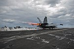 Right rear view of VAQ-130 EA-18G Growler launching from USS Harry S. Truman (CVN-75) 140417-N-NU281-075.jpg