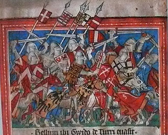 Amadeus V, Count of Savoy - Amadeus as one of the combattants defeating the Torriani revolt in Milan (12 February 1312).