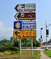 Road sign Islamabad (cropped).JPG