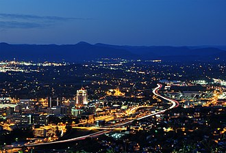 Roanoke, Virginia - Downtown Roanoke from atop Mill Mountain.