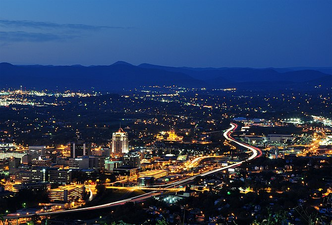 Roanoke City as seen from at dusk in Virginia, USA