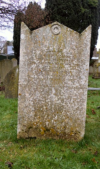 Robert Bloomfield - Bloomfield's grave in the churchyard of All Saints church in Campton in Bedfordshire