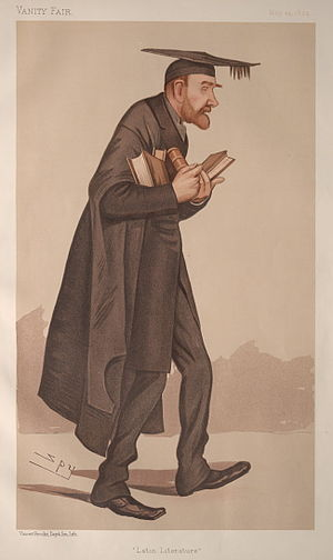 """Robinson Ellis - """"Latin Literature"""". Caricature by Spy published in Vanity Fair in 1894."""