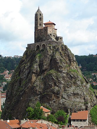 Volcanic plug - Saint Michel d'Aiguilhe chapel, on top of a volcanic plug in Le Puy-en-Velay, France.