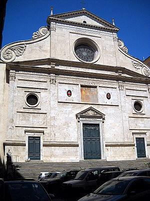 Basilica of Sant'Agostino, Rome - Facade of Sant'Agostino, by Giacomo di Pietrasanta (1483)