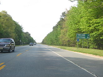 New Jersey Route 55 - The southernmost portion of Route 55 in Maurice River Township that is a two-lane undivided road