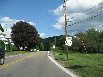 Pennsylvania Route 864 - PA 864 proceeding eastbound at the western terminus of PA 87 in Upper Fairfield Township