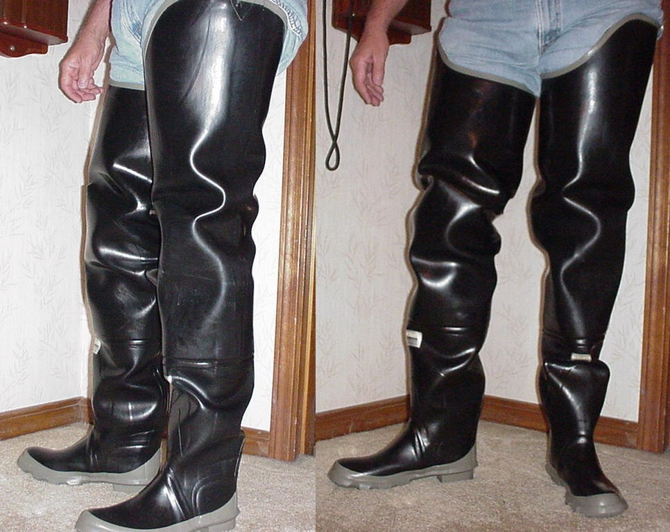 Rubber hip boots