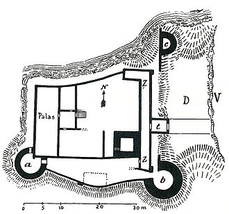 Neck ditch - Plan of Rudelsburg castle with its neck ditch (D)