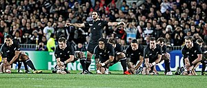 Piri Weepu - Piri Weepu leads the Kapo o Pango haka for the All Blacks