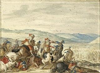Equestrian Battle in a Mountainous Landscape