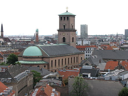 """Vor Frue Kirke"", the Lutheran cathedral in Copenhagen (completed 1829) Rundetarn view 2 new version.jpg"