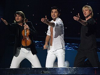 Evgeni Plushenko - Edvin Marton, Dima Bilan, and Plushenko at the 2008 Eurovision Song Contest