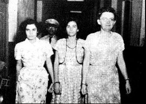 Gag Law (Puerto Rico) - The arrest of (L to R) Nationalists Carmen María Pérez Roque, Olga Viscal Garriga and Ruth Mary Reynolds
