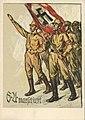 SA marschiert Ansichtskarte Postkarte NSDAP Propaganda Berlin 1932 Ungennant Künstler Nazi party postcard coloured draweing Sturmabteilung marching salute Swastika flag Uncredited artist No known copyright restrictions 0952.jpg