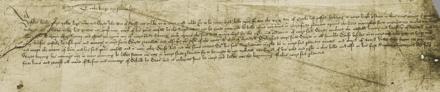 A photograph of a fifteenth-century handwritten petition to the King