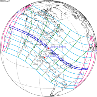 Future Total Eclipse Map.Solar Eclipse Of August 12 2045 Wikipedia