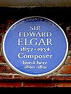 SIR EDWARD ELGAR 1857-1934 Composer lived here 1890-1891.jpg