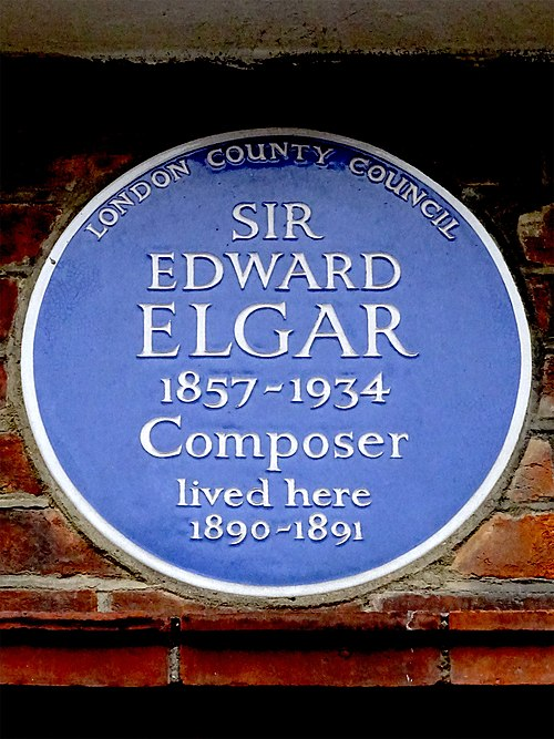 Sir edward elgar 1857 1934 composer lived here 1890 1891