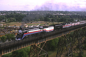 Freedom Train - Locomotive SP 4449 hauling a post-Bicentennial excursion train in 1977 but still painted for the American Freedom Train