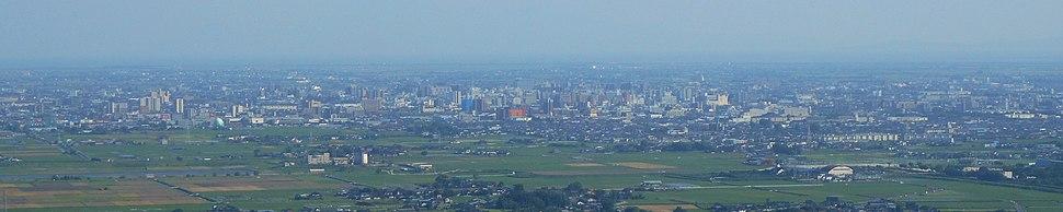Saga cityscape from mount Kinryu