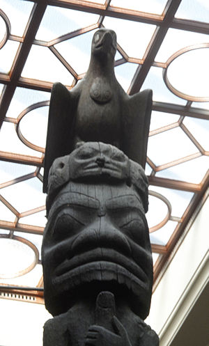 Nisga'a and Haida Crest Poles of the Royal Ontario Museum - Top Section of Sag̱aw̓een Pole Eagle and Man Underneath