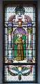 Saint Francis on stained glass window in the Saint Antony church in St. Ulrich in Gröden.jpg