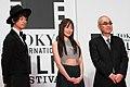 "Saito Takumi, Takanashi Rin & Sasabe Kiyoshi from ""The Sowing Traveller 3"" at Opening Ceremony of the Tokyo International Film Festival 2016 (33603369166).jpg"