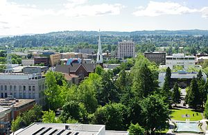 Downtown Salem, Oregon from top of Oregon Stat...