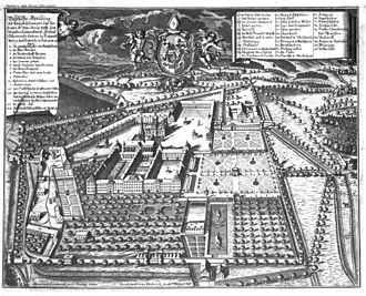 Salem Abbey - Wahrhafte Abbildung des Klosters Salem: engraving of Salem Abbey by Jacob Andreas Fridrich (1648–1751) after a drawing by Christoph Lienhardt (1648–1714), published in Apiarium Salemitanum, 1708.