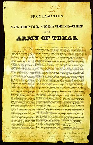 Texian Army - Sam Houston's call for the Army of Texas recruitment proclamation on December 12, 1835