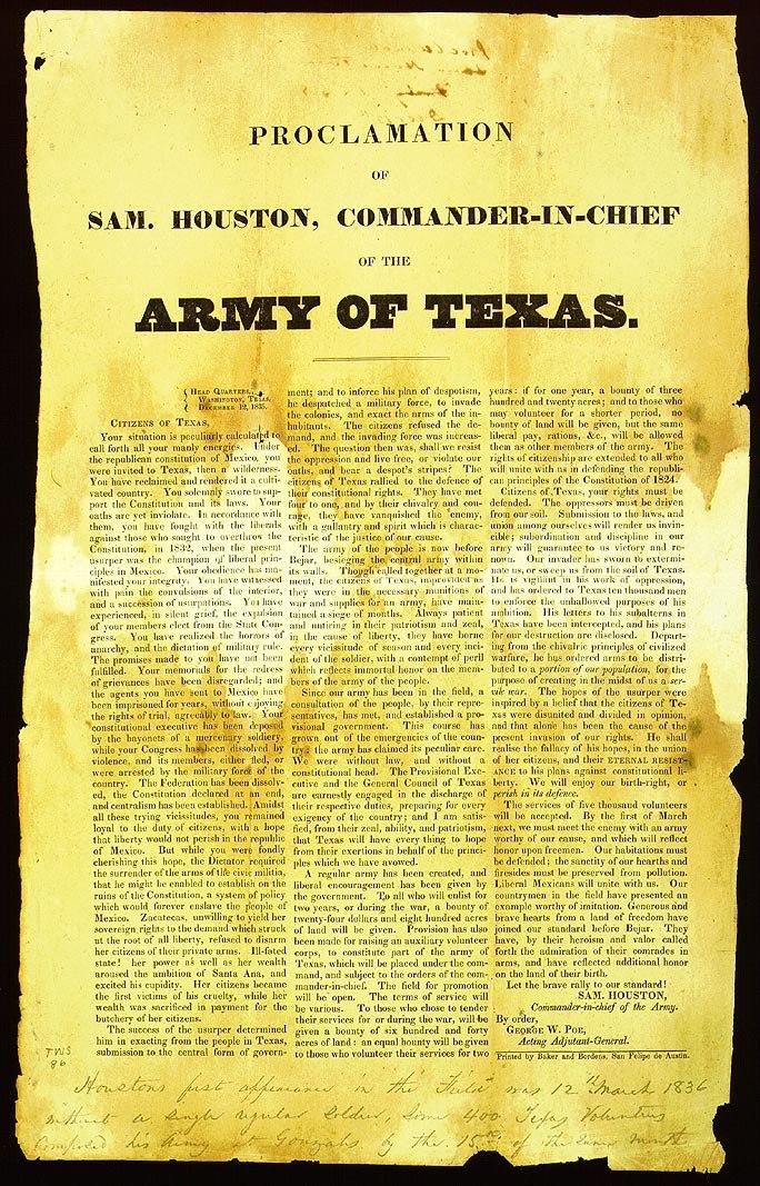 Sam Houston Army of Texas recruitment proclamation Dec 12, 1835