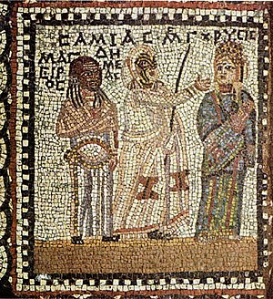 "Comedy - Roman-era mosaic depicting a scene from Menander's comedy Samia (""The Woman from Samos"")"