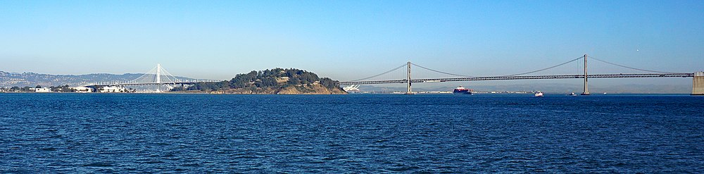 San franciscooakland bay bridge wikipedia panorama showing the bay bridge with the new eastern span 2017 sciox Images