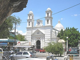 Iguala - Street scene with the San Francisco Church.