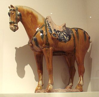 Sancai - Tang dynasty tomb figure, sancai horse, 7-8th century, also using blue, as on the saddle
