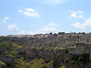 Sassi di Matera - Panoramic view from the Canyon (Gravina)