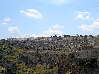 Sassi di Matera - Panoramic view from the Canyon (Gravina)
