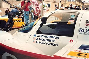 Vern Schuppan - Closeup of the Porsche 956 in which Schuppan and co-drivers Al Holbert and Hurley Haywood won the 1983 24 Hours of Le Mans.