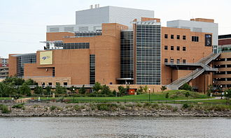 Downtown Saint Paul - A southern view of the Science Museum of Minnesota from across the Mississippi River