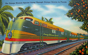 Orange Blossom Special (train) - Postcard depiction of the train circa 1939; the card described the train as the only all electric New York-Florida train; a reference to its diesel-electric locomotives.